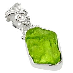 6.51cts natural green peridot rough 925 sterling silver pendant jewelry r29940