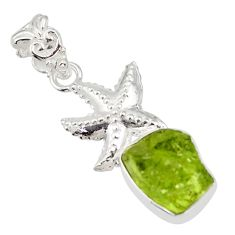 6.83cts natural green peridot rough 925 sterling silver star fish pendant r31341