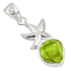 6.31cts natural green peridot rough 925 sterling silver star fish pendant r31343