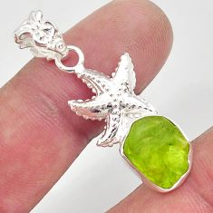 6.83cts natural green peridot rough 925 sterling silver star fish pendant r31363