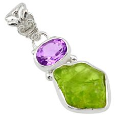 8.75cts natural green peridot rough amethyst 925 sterling silver pendant r29829