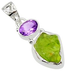 7.65cts natural green peridot rough amethyst 925 sterling silver pendant r29834