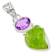 7.97cts natural green peridot rough amethyst 925 sterling silver pendant r29837