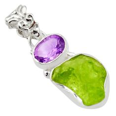 7.67cts natural green peridot rough amethyst 925 sterling silver pendant r29838