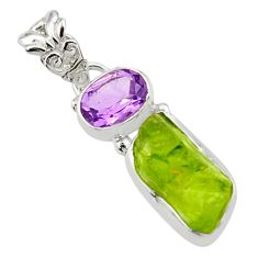 8.33cts natural green peridot rough amethyst 925 sterling silver pendant r29839