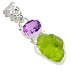 8.32cts natural green peridot rough amethyst 925 sterling silver pendant r29862
