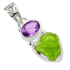 8.44cts natural green peridot rough amethyst 925 sterling silver pendant r29863