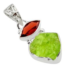 7.67cts natural green peridot rough garnet 925 sterling silver pendant r29822