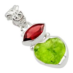 8.37cts natural green peridot rough garnet 925 sterling silver pendant r29830