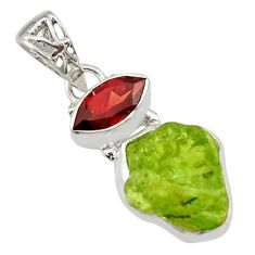 8.06cts natural green peridot rough garnet 925 sterling silver pendant r29861