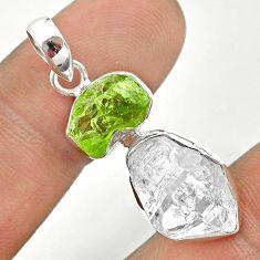 10.71cts natural green peridot raw herkimer diamond 925 silver pendant t49151