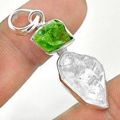 10.76cts natural green peridot raw herkimer diamond 925 silver pendant t49159