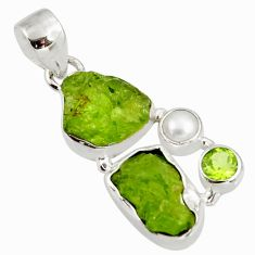 Clearance Sale- 13.09cts natural green peridot rough peridot 925 sterling silver pendant d39197