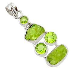 18.15cts natural green peridot rough peridot 925 sterling silver pendant d45342