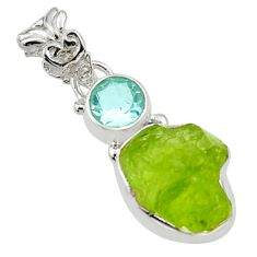 7.62cts natural green peridot rough topaz 925 sterling silver pendant r29821