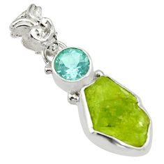 6.64cts natural green peridot rough topaz 925 sterling silver pendant r29825