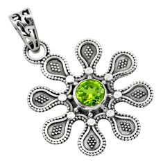1.17cts natural green peridot round 925 sterling silver flower pendant t30153