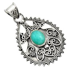 4.21cts natural green peruvian amazonite 925 sterling silver pendant d45062