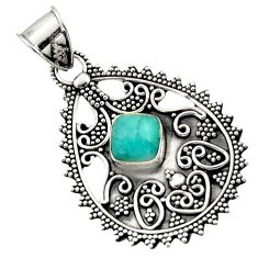 2.90cts natural green peruvian amazonite 925 sterling silver pendant d45074
