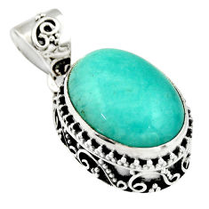 10.41cts natural green peruvian amazonite 925 sterling silver pendant r19041