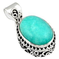 10.57cts natural green peruvian amazonite 925 sterling silver pendant r19052