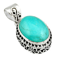 10.24cts natural green peruvian amazonite 925 sterling silver pendant r19055