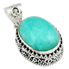 9.95cts natural green peruvian amazonite 925 sterling silver pendant r19058