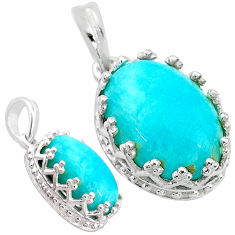 5.87cts natural green peruvian amazonite 925 sterling silver pendant t20501