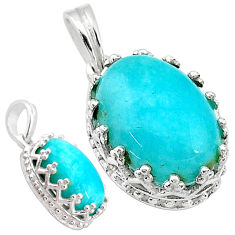 5.83cts natural green peruvian amazonite 925 sterling silver pendant t20502