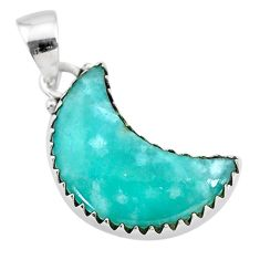 9.22cts natural moon peruvian amazonite 925 sterling silver pendant t21871