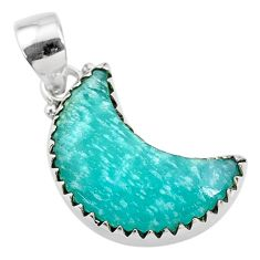 10.72cts natural moon peruvian amazonite 925 sterling silver pendant t21874