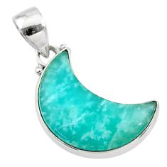 9.20cts natural moon peruvian amazonite 925 sterling silver pendant t21878