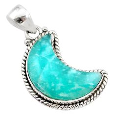 13.15cts natural moon peruvian amazonite 925 sterling silver pendant t21979