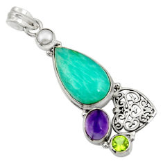 Clearance Sale- 17.36cts natural green peruvian amazonite amethyst 925 silver pendant d43265
