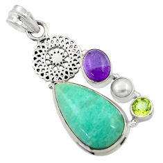 Clearance Sale- 18.66cts natural green peruvian amazonite amethyst 925 silver pendant d43269