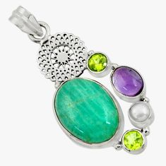 Clearance Sale- 16.46cts natural green peruvian amazonite amethyst 925 silver pendant d43275