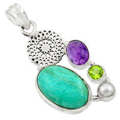 Clearance Sale- 16.43cts natural green peruvian amazonite amethyst pearl silver pendant d43262
