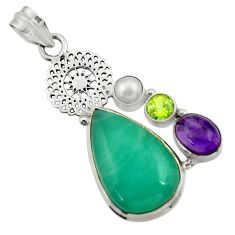 Clearance Sale- 19.48cts natural green peruvian amazonite amethyst pearl silver pendant d43279