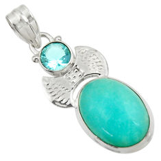 Clearance Sale- 14.26cts natural green peruvian amazonite blue topaz 925 silver pendant d43272