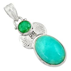Clearance Sale- 15.16cts natural green peruvian amazonite emerald 925 silver pendant d43261