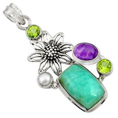 Clearance Sale- 15.11cts natural green peruvian amazonite pearl 925 silver flower pendant d43266