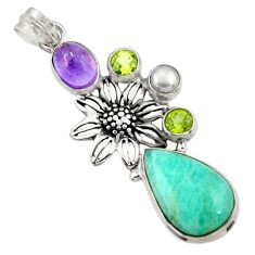 Clearance Sale- 15.21cts natural green peruvian amazonite pearl 925 silver flower pendant d43274