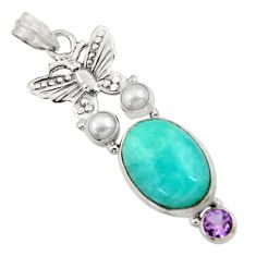 Clearance Sale- 14.12cts natural green peruvian amazonite pearl silver butterfly pendant d43270