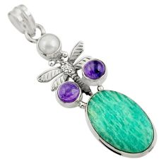 Clearance Sale- 18.15cts natural green peruvian amazonite pearl silver dragonfly pendant d43280