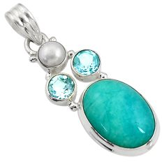 Clearance Sale- 15.16cts natural green peruvian amazonite topaz pearl 925 silver pendant d43561
