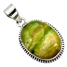 16.55cts natural green pietersite (african) 925 sterling silver pendant r27623