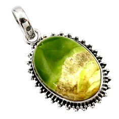 17.22cts natural green pietersite (african) 925 sterling silver pendant r27636