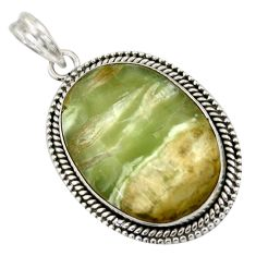 26.16cts natural green pietersite (african) 925 sterling silver pendant r41680