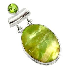 22.59cts natural green pietersite (african) peridot 925 silver pendant r32202
