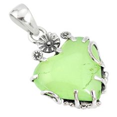 14.18cts natural green prehnite 925 sterling silver flower pendant r77841